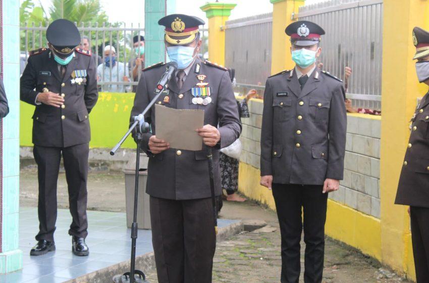 Kapolres Banyuasin Pimpin Pemakaman Kompol Iskandar Secara Kedinasan