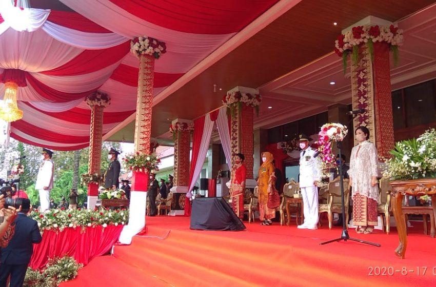 Gubernur Sumsel Upacara di Rumah Dinas Griya Agung