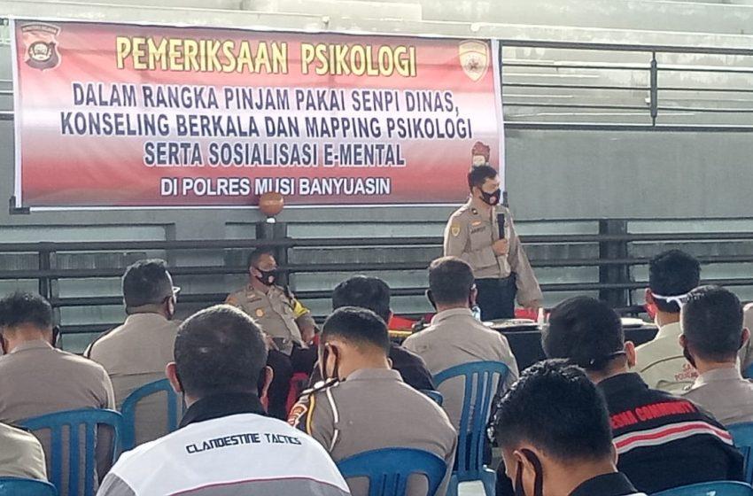 Ratusan personel Polres Musi Banyuasin Ikuti Tes Psikologi Kepemilikan Senpi