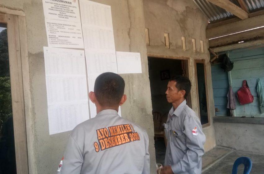 Sukseskan Pilkada Serentak KPU Pali Tempel DPS Di Rumah Warga