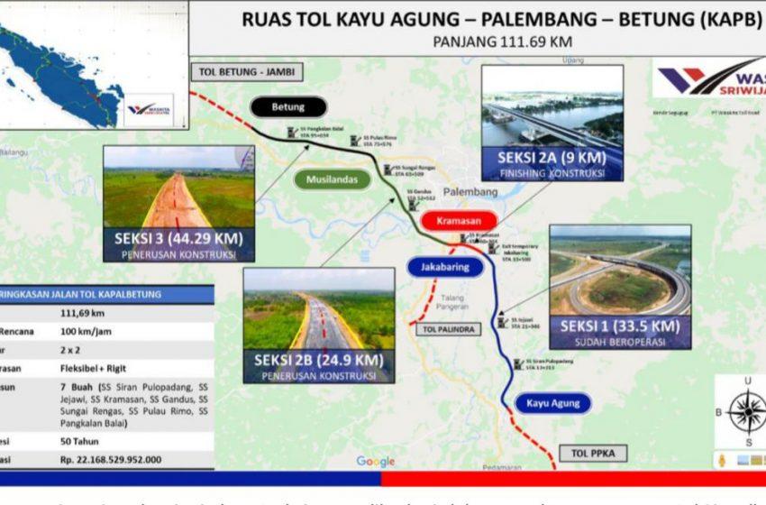 Pengerjaan Tol Palembang-Betung Banyuasin Dilanjutkan