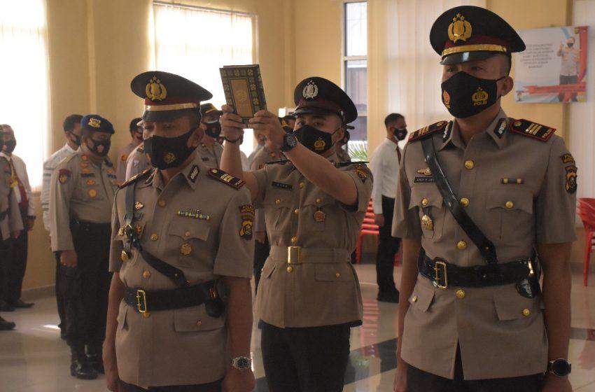 Kapolres Muba AKBP Erlin Tangjaya SH  Sik Pimpin Serah Terima Jabatan Kasat Reskrim dan Kapolsek Babat Toman