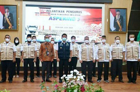 Gubernur Sumsel, Herman Deru, hadiri Pelantikan Pengurus Dewan Pimpinan Wilayah (DPW) Asosiasi Perusahan Jasa Ekspres, Pos dan Logistik Indonesia (ASPERINDO) periode 2020-2024 di Graha Bina Praja