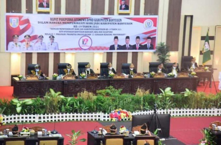 DPRD Banyuasin Gelar Rapat Paripurna HUT Banyuasin Ke -19 Tahun 2021