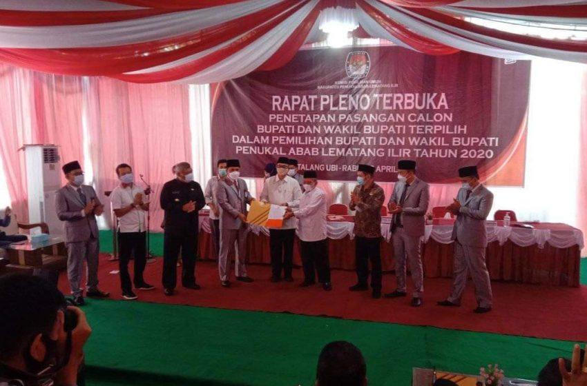 KPU PALI Tetapkan Paslon HeRo Bupati dan Wakil Bupati Terpilih