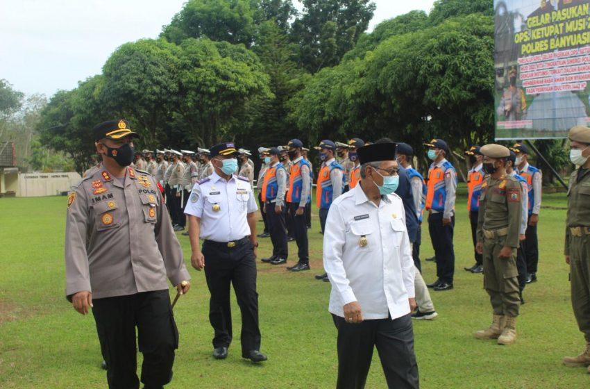 Jelang Idul Fitri 1442 H, Polres Banyuasin Gelar Apel Pasukan Operasi Ketupat Musi Tahun 2021