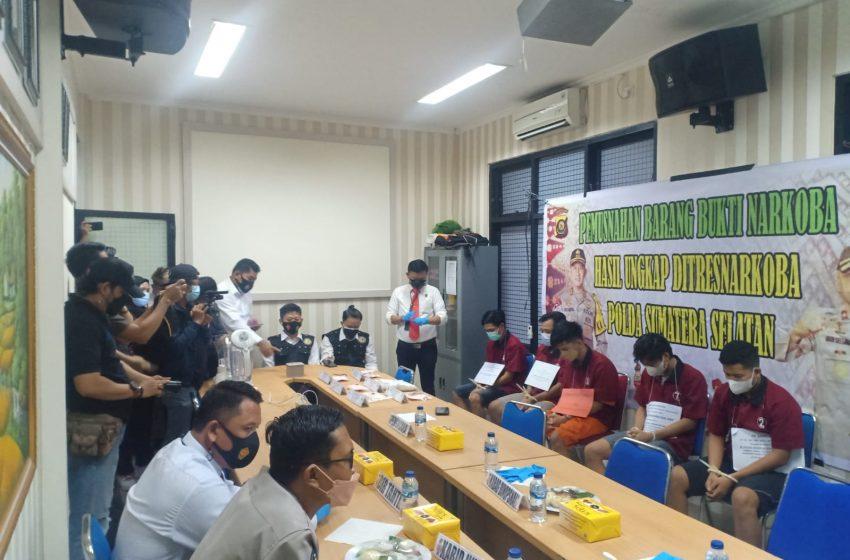Polda Sumsel Musnahkan 1 Kg Sabu Milik Petani Asal Aceh